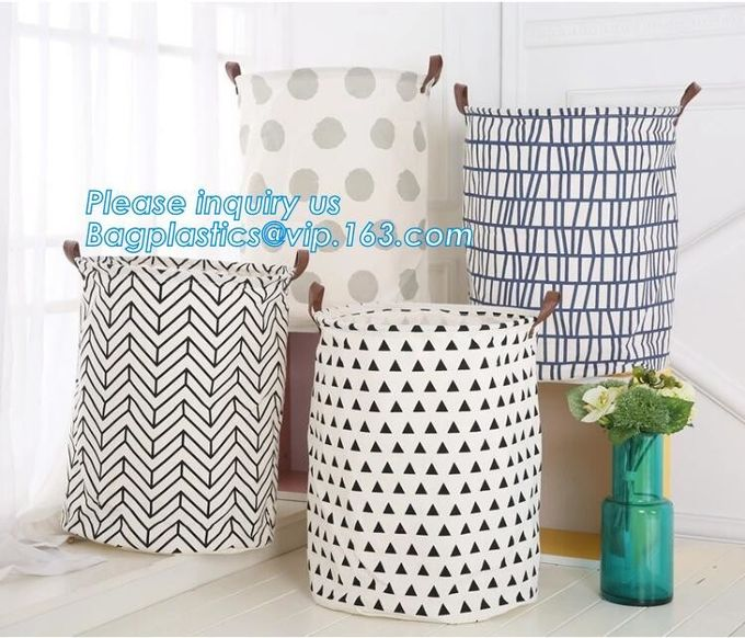 Storage Bins Organizer, Set of 3 Foldable Collapsible Large Cube Fabric Canvas Storage Baskets,Canvas Round Storage Bask