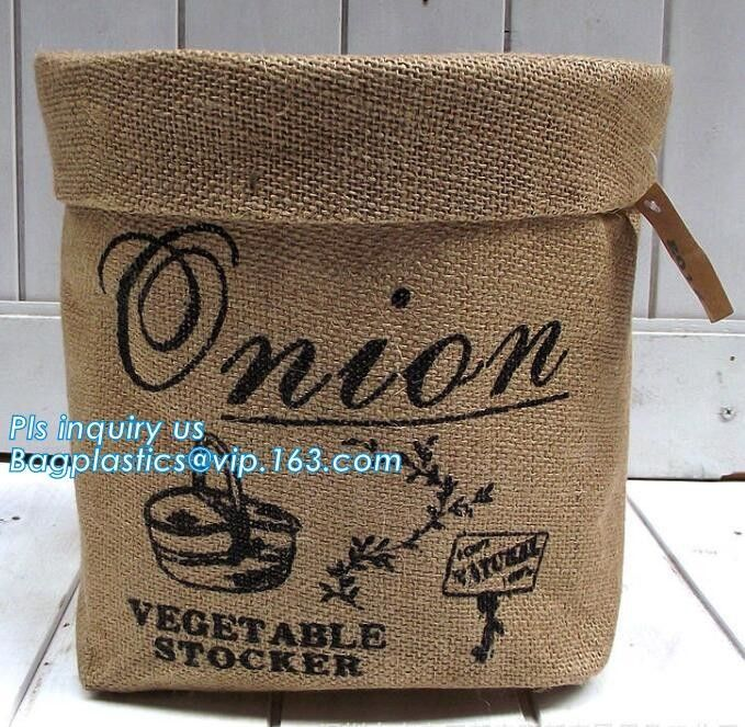 Jute material small toy storage basket,Printing set of 3 Jute storage basket ,storage bin , laundry basket bin bagease