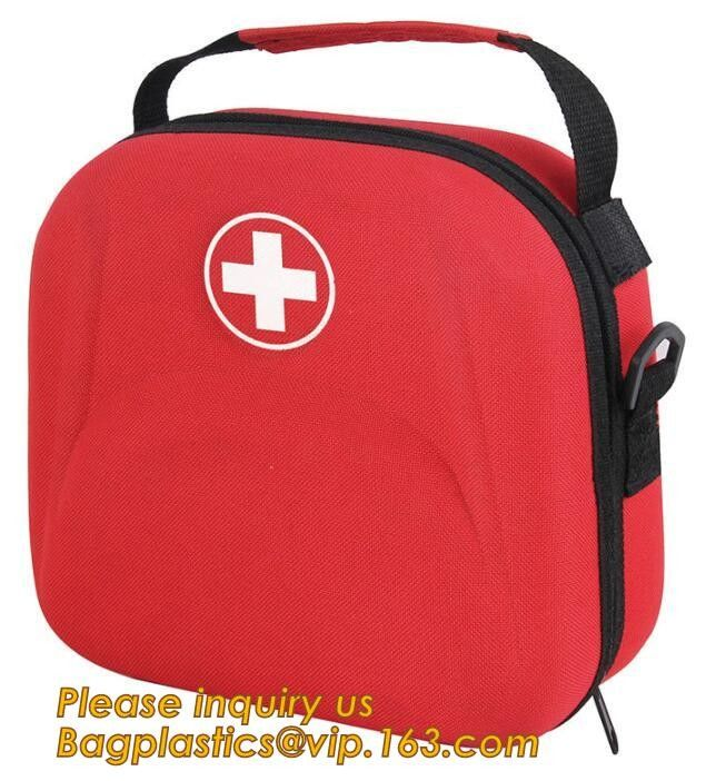 Red pu leather waterproof mini eva first aid kit case,first aid box plastic case carrying case,Medical Multi-functional