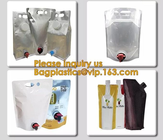 Customized 1.5L 3L 5L/Liter Reusable Refillable Empty Aluminum Foil Wine Bag In Box Dispenser With Spout Tap bagease pac