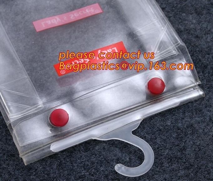 PVC bag/PVC hook bag /PVC hanger bag for Underwear pack,PVC Plastic Packing Zipper Bag With Hanger clear bag hanger