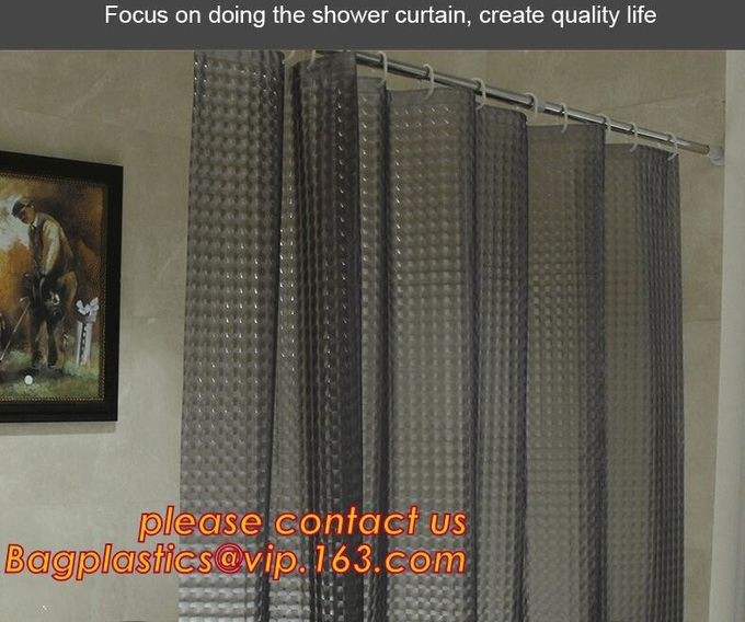 Mould Proof Waterproof white and black trellis design pvc custom bath curtain printed shower curtain, High quality Polye