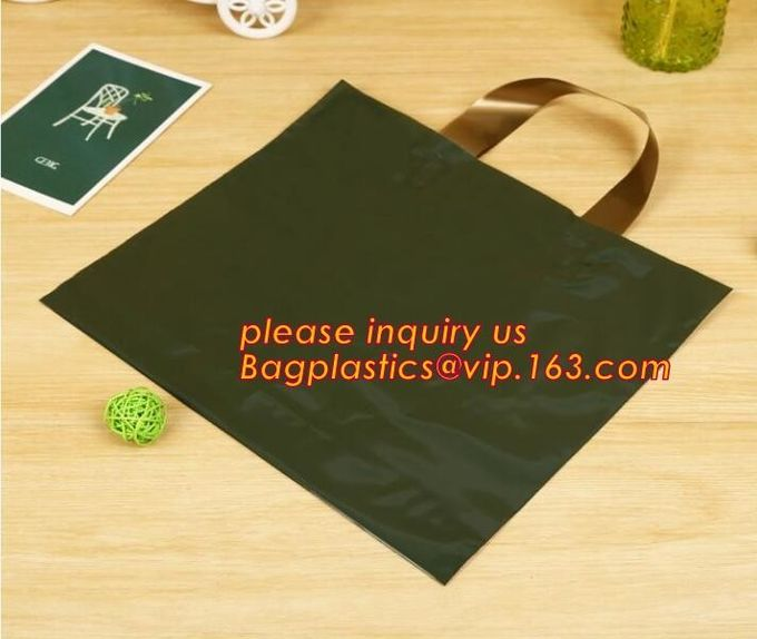 Custom logo HDPE/LDPE Die Cut Patch Handle Custom Plastic Merchandise Retail Bags,100% oxo biodegradable printed die cut