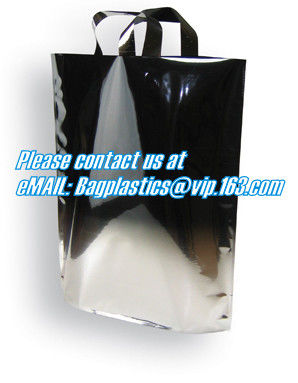 CLEAR FROSTED SOFT LOOP SHOPPER BAG,Soft Loop Handle Plastic Bag OEM Plastic Bagbiodegradable retail shopping bags pack