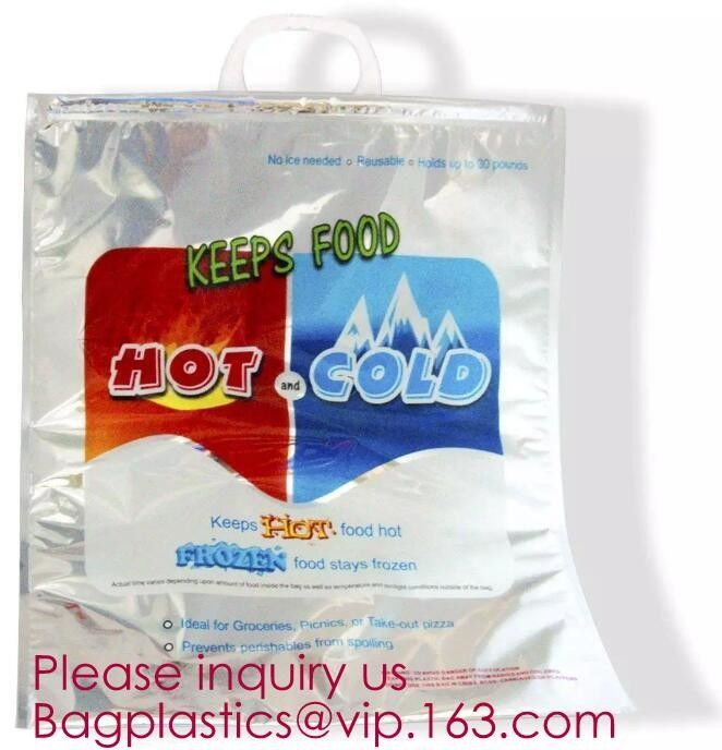 Custom Packing Aluminum Foil Zip-Lock Grocery Handle Thermal Insulation Cooler Bag For Outdoors,Promotional Insulated La