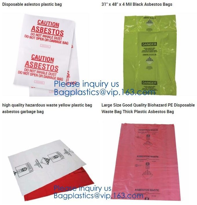 Large Size Good Quality Biohazard PE Disposable Waste Bag Thick Plastic Asbestos Bag,Jumbo Plastic Industrial Garbage Pa