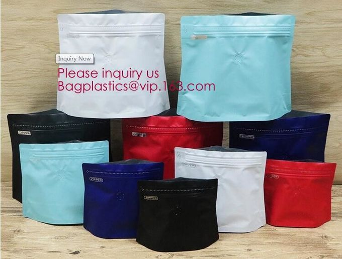 Easy Tear Zipper Top Coffee Stand Up Foil Zipper Bag Side Gusset Bags Square Block Flat Bottom Ziplock Packaging Pouch