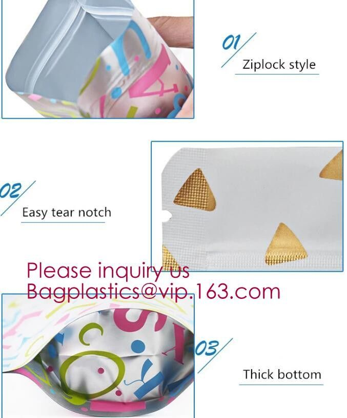 Biodegradable foil pouch standing up spice bag Clear Window Food Packaging Bag Metalized Stand Up Pouch With Zipper,