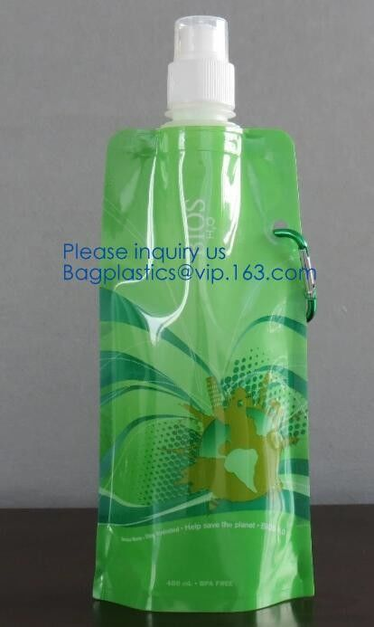 Promotional Customized Foldable Plastic Water Bottle Bag,Fashion bpa free bottle foldable water bag 480ml bagease pack