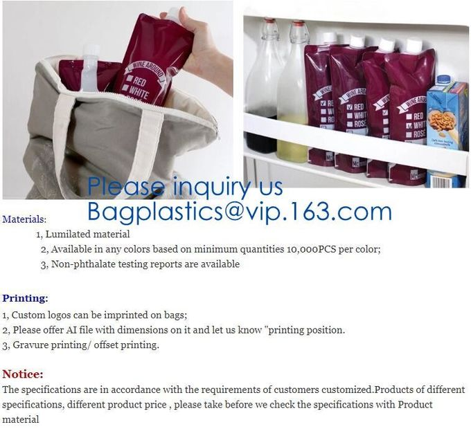 Red wine,Milk beverage spout bag self-standing sealing bag,bag with spout cosmetic spout bag bag in box spout,bagease pa
