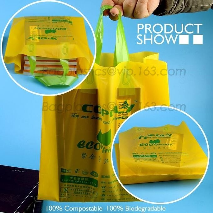 Eco friendly Compostable Biodegradable commercial bags,100% Environment Friendly Compostable Cornstarch Garbage Bags pac