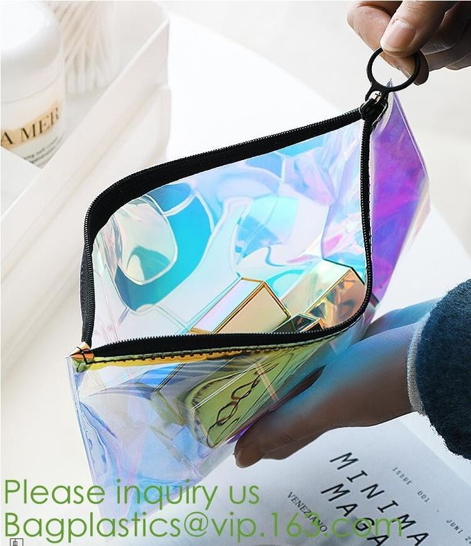 clear PVC Carry-all Set Bag makup artist make up tool organizer bag with front tissue pocket,Ladies girls beauty travel