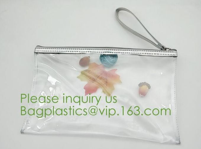 Zipper PVC Packing Bags,Padded Zipper Bag Transparent Zip Lock Pouch PVC Ziplock Packaging Bag,custom pink/white/black l