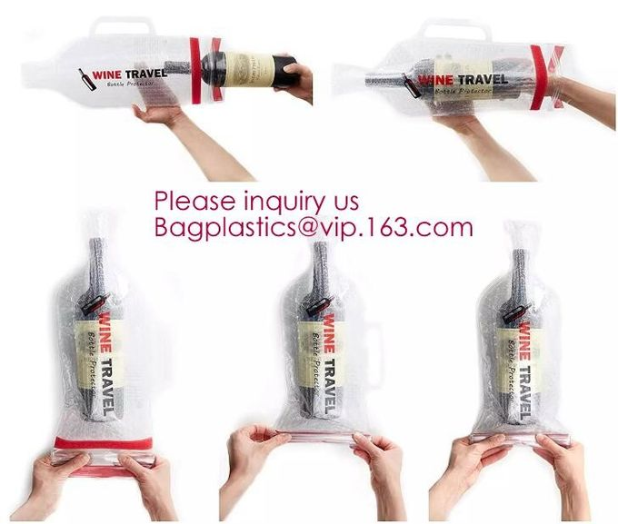Bottle Protector Bubble Travel Bag,Travel Trip Bag With Bubble Inside And Double Ziplocks,Sleeve Travel Bag - Inner Skin