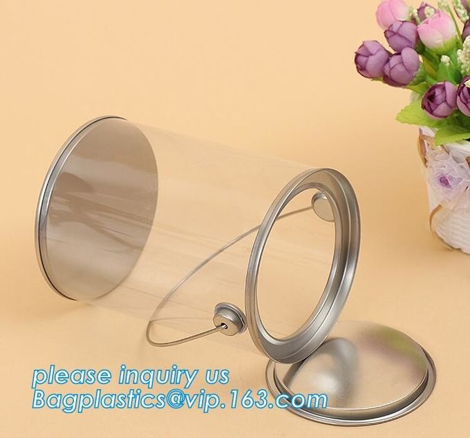clear PVC PET can for food canning,Customized round clear paint can with tin lid,paint can with tin top & bottom and han