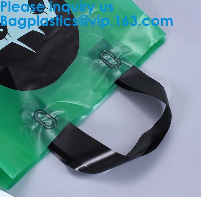 100% Biodegradable And Compostable Soft Loop Handle Plastic Bag For Clothing,Handle Block Bottom Plastic Shopping Bag