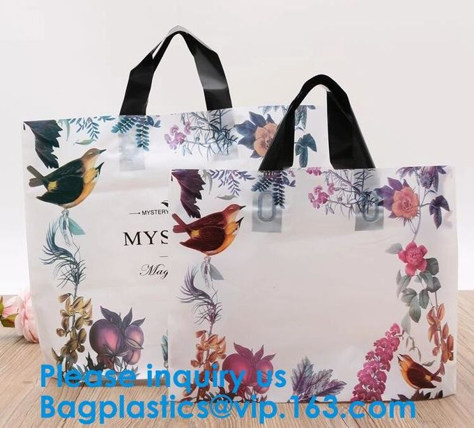 100% Eco-Friendly Biodegradable Custom Design Hdpe/Ldpe Shopping Carrying Flexi Soft Loop Plastic Handle Bag