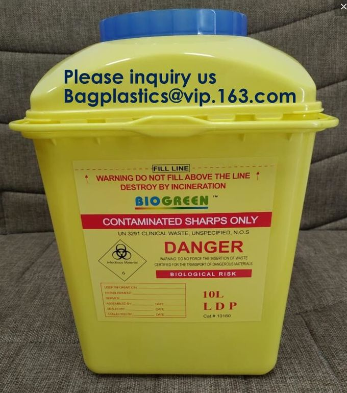 OEM 3l 5l 10l 12l 21l 22l yellow hospital biohazard medical needle disposal plastic safety sharps container