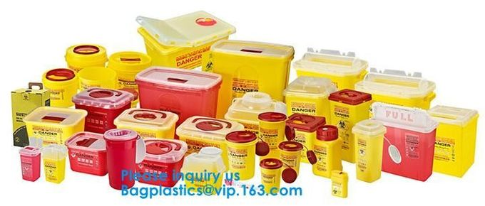 Biohazard Plastic Sharps Container,Hospital Biohazard Medical Needle Disposable Plastic Safety Sharps Container