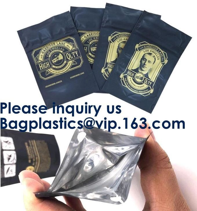 Custom Food Safe Gold Aluminum Foil Pouch Mini Smell Proof Mylar Ziplock Bags,Resealable Smell Proof Foil Zipper Bags Wi