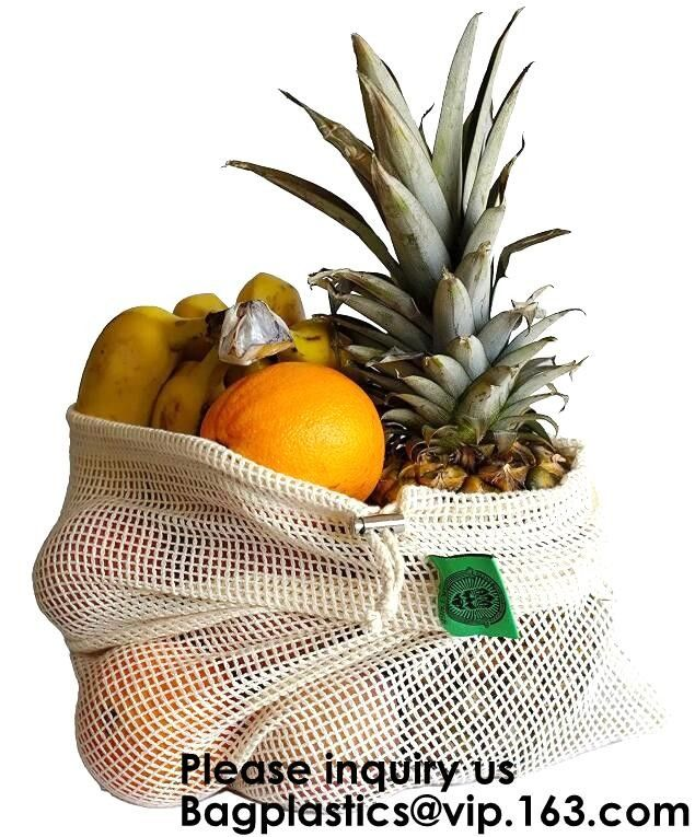 Green Supermarket Shopping Cotton Net bags, Mix Color Narrow Long Handle Cotton Net Shopping Bag, Bagease, Bagplastics