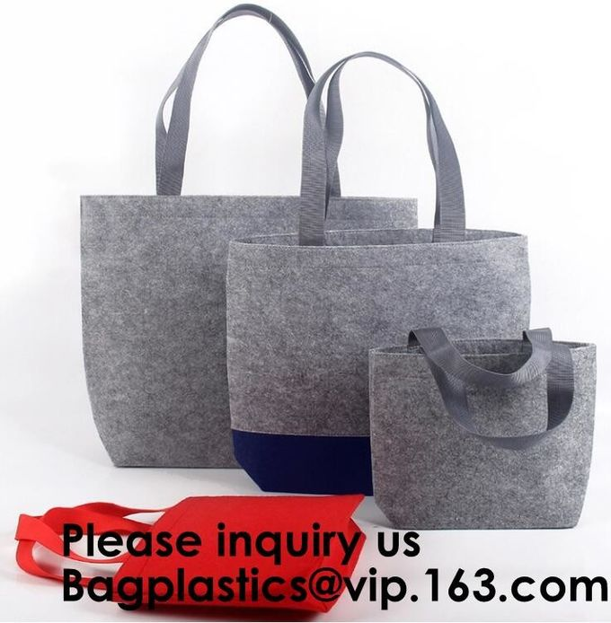 Women Fashion Customized Designer Women Shopping Felt Tote Bag, Colorful Felt Bag With Small Pouch/Red Wool Felt Bag
