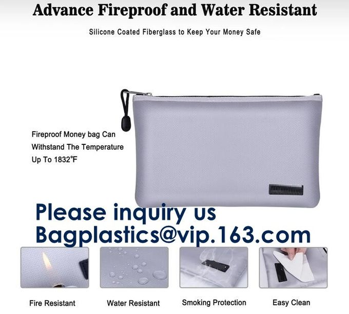 Double layer heat protection large fireproof document money pouch bags,Safety document bag / fire resistant document bag