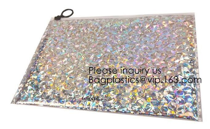Printing Zipper Plastic Foil Ziplock Packaging Hologram Laser Holographic Aluminum Foil Folding Pouch Bags For Jewelry