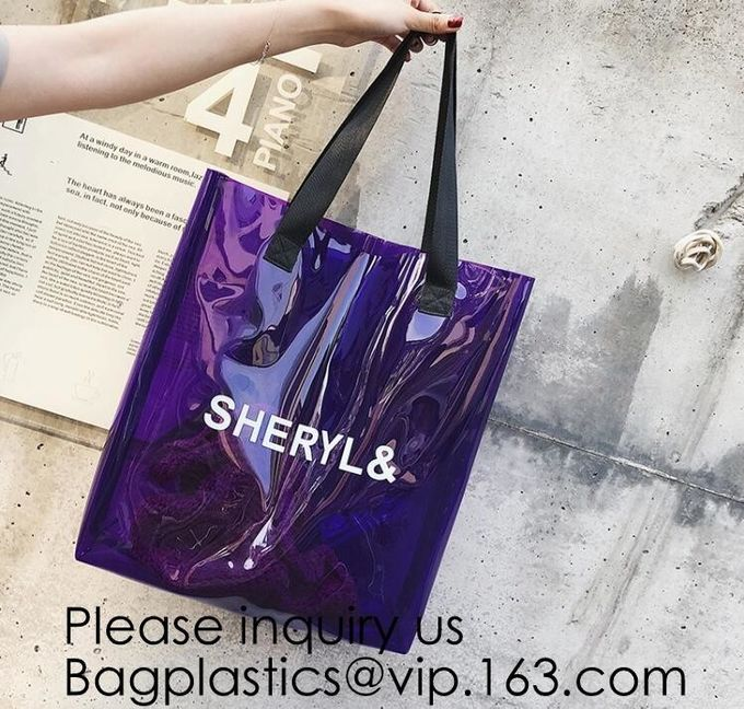 Reusable Custom Transparent PVC Shopping Bag Promotional Items Ladies Clear Plastic Beach Tote Bags Women, bagease, pack
