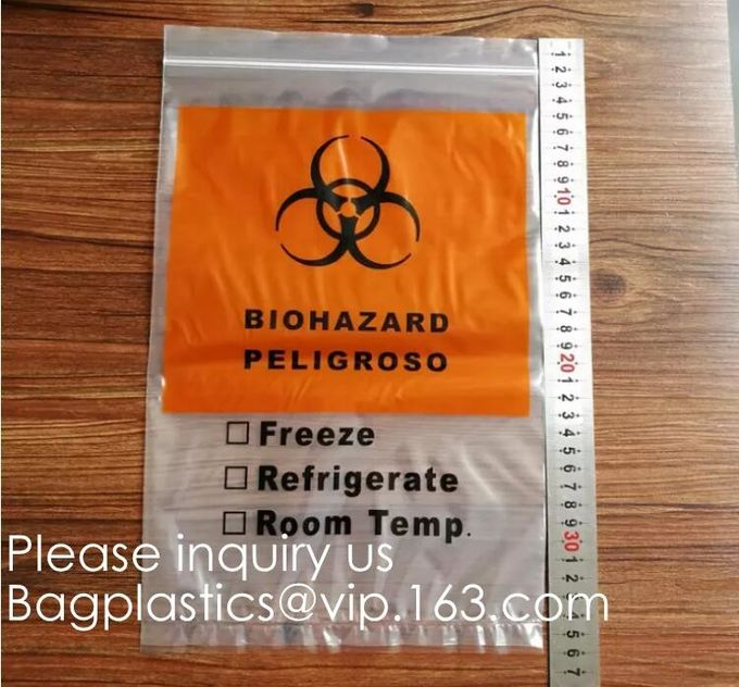 Biohazard Pathology Specimen Medical Zipper Bag,Kangaroo Bag, Compostable Bag Customized Stand Up Pouch, BAGEASE, BAGPLA