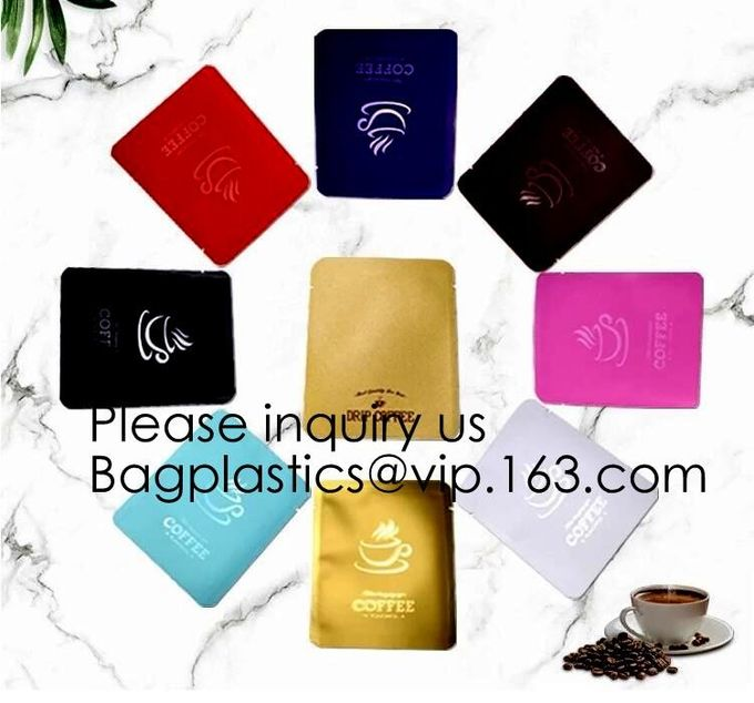 Three Side Sealed Flat Paper Coffee Pouch One Pack Drip Coffee Bag,Aluminum Foil Drip Coffee Pouch Hanging Ear Bag, pack