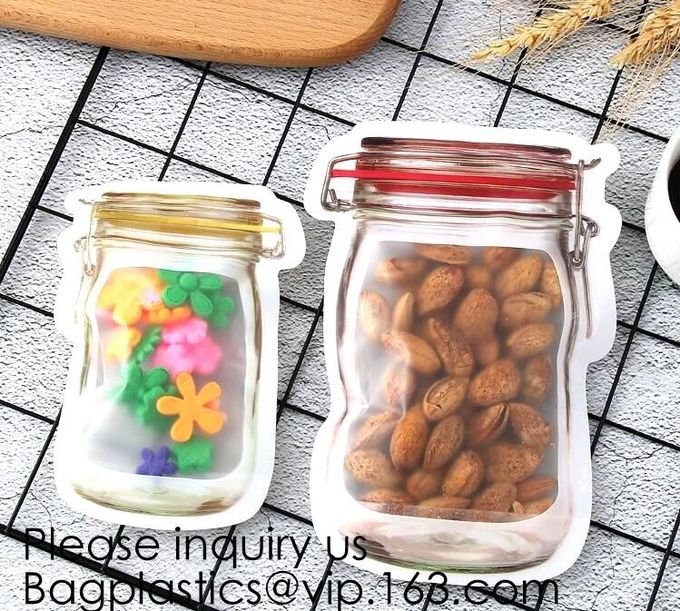 Custom Printed Mason Jar Stand Up Zip Lock Pouch Snack Food Packaging Bag,PE Storge Bag Kitchen Refrigerator Food Sealed