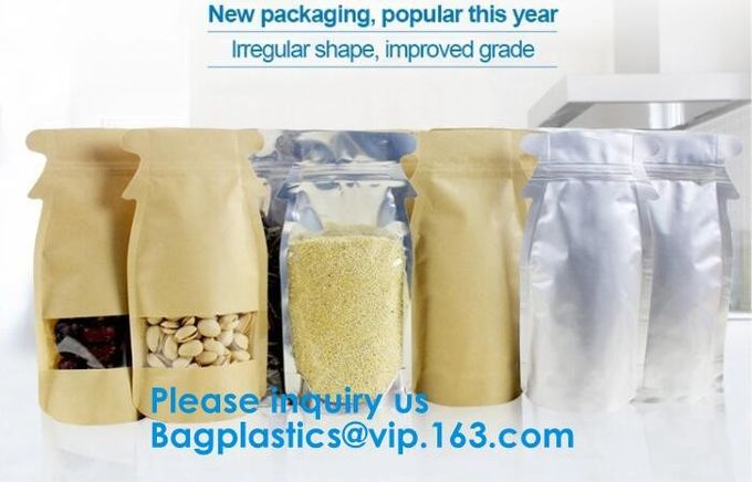 Customized Printing Laminated Material Food Grade Packaging Aluminum Foil Food Packing Bags With Zip Lock bagease, pack