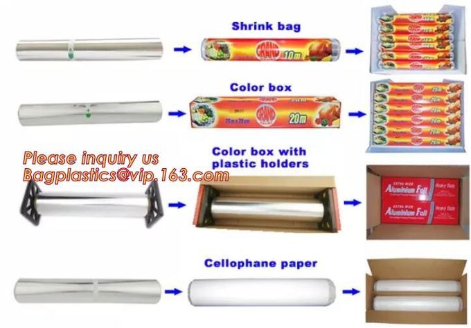 Eco Friendly Household 11micron Hamburger Wrapping Aluminium Foil Roll For Food Packaging Wrapping Foils, Embossed Alumi