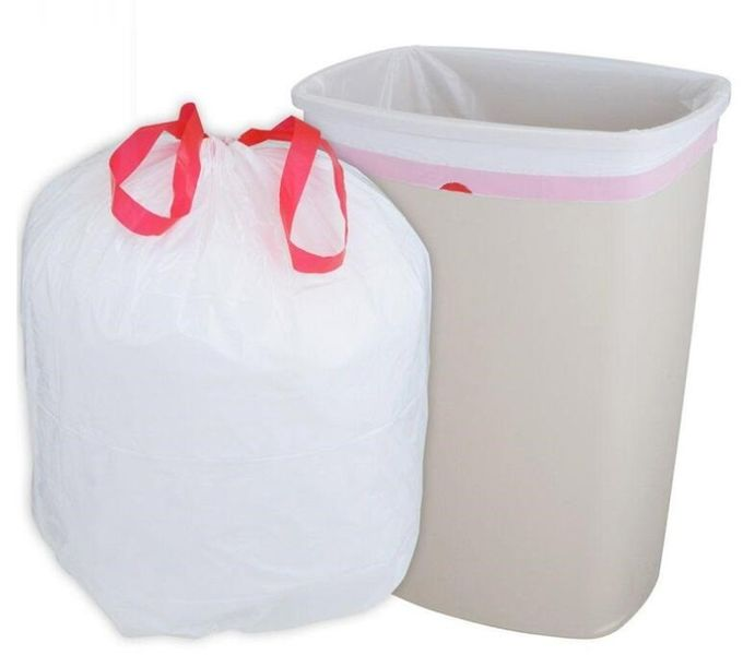 Bio Eco Green Waste Basket Bin Liners Bags, Kitchen Bath Bedroom Car Trash Can, Office Waste Bin Liners Unscented,White