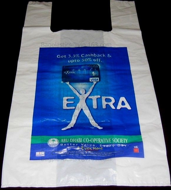 Starch Biodegradable T Shirt Bags Made Of PLA PBAT, 100% Biodegradable & Compostable,T-Shirt Shopping Bags, DOLLAR STORE