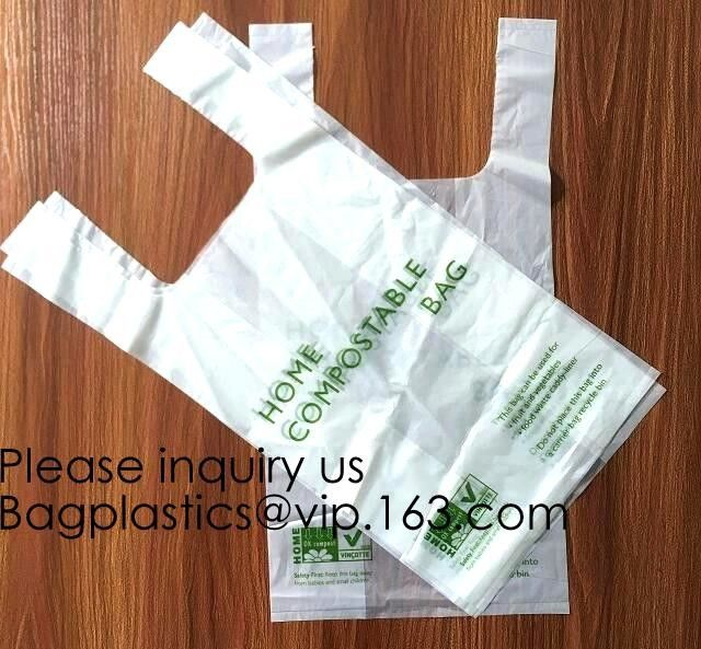 100% Biodegradable Compostable Plastic T-Shirt Vest Bag For Shopping,Home,Decoration,Wedding,Supermarket,Restaurant,Bake