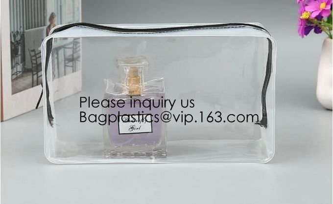 Clear Toiletry Bag - Compression Packing Cube - PVC Cosmetic Bag - Transparent Makeup Bag - See Through Plastic Clear Ba