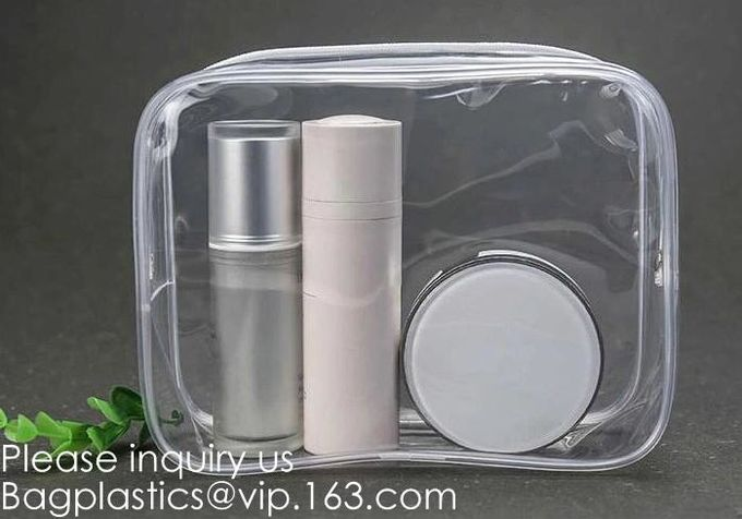 Holiday Cosmetic Bag Flamingo Ice Cream Transparent Makeup Bags With Handle See Through Plastic Makeup Bags, Dress Bags