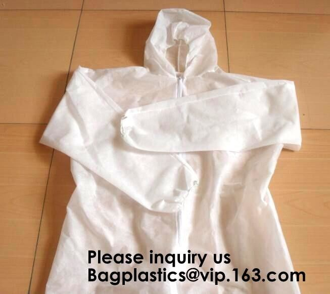 Light Duty Disposable Protective Coveralls Suit Attached Non-Woven Fabric Hood Elastic Wrist Ankles and Waist Serged Sea