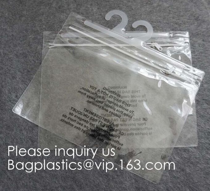 Transparent PVC hanger hook plastic bags for clothes packing,Better Protect and store CD's, books, magazines, papers and