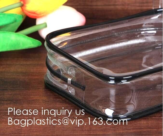 5 Pack Clear PVC Zippered Toiletry Carry Pouch Portable Cosmetic Makeup Bag for Vacation, Bathroom and Organizing pack