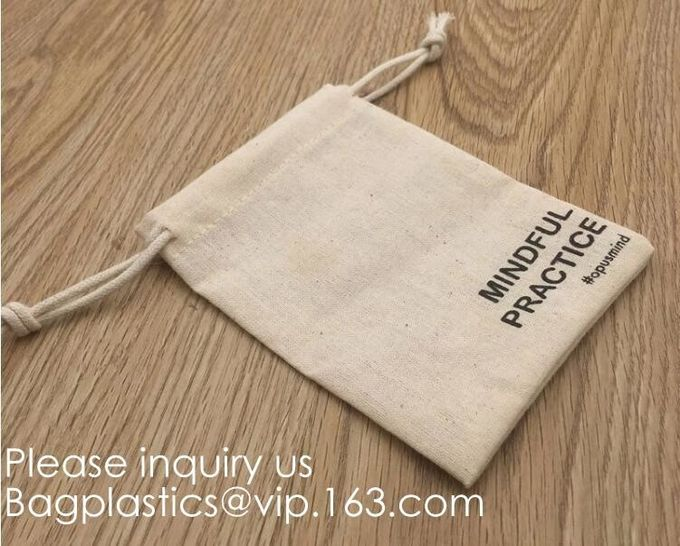 Organic Cotton Reusable Produce Bags, Biodegradable Eco-Friendly Bulk Bin Bags for Food - Small 5x7 - Sachet Bags, Fruit