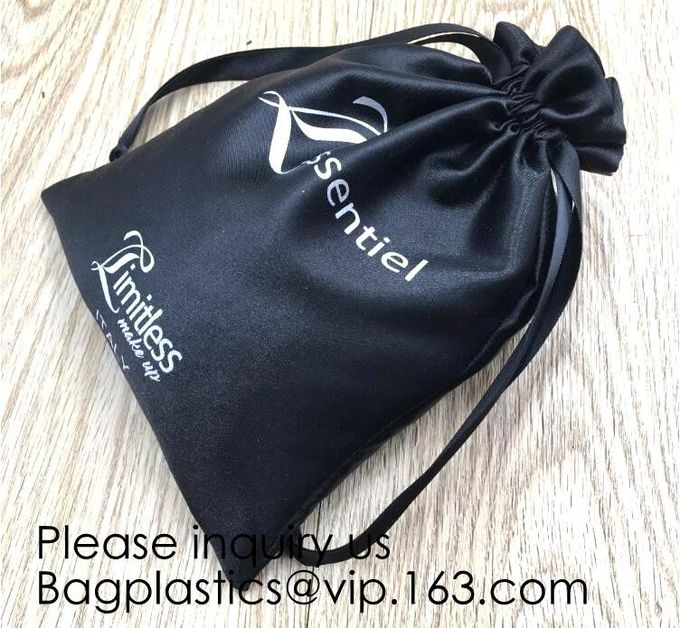 Beige Satin Drawstring Bag For Shoe,Purple Satin Pouch With Ribbon,Logo Satin Drawstring Bag,Hair Extension Bag , Gift W