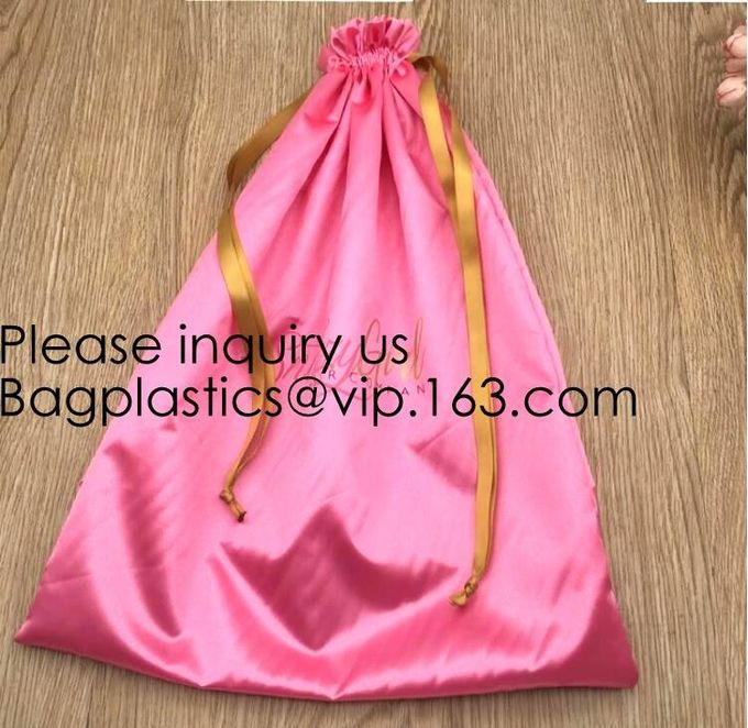 Customized Satin Lingerie Sock Packaging Bag,Colorful Satin Bag For Hair Packaging,Green Pink Rose Gold Satin Drawstring