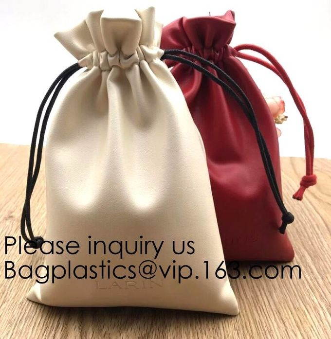 Soft Offwhite and Red PU Leather Bag For Packaging,Custom Pink Brown Faux Leather Drawstring Pouch Faux Leather Jewelry