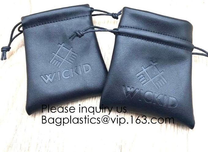 Custom Logo Acceptable Multi Sizes Black Drawstring PU Leather Promotional Gifts Pouches Bags Jewelry, Gift,Hair, Shoes,