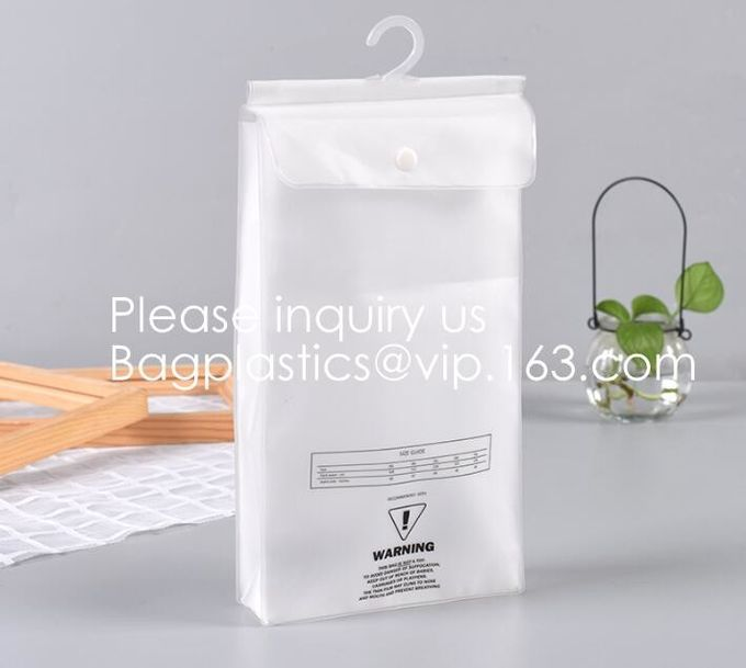 Biodegradable Compostable pac Hanger Garment Underwear Clothes Package Hanging Hook Plastic Bag With Self-Adhesive Seal