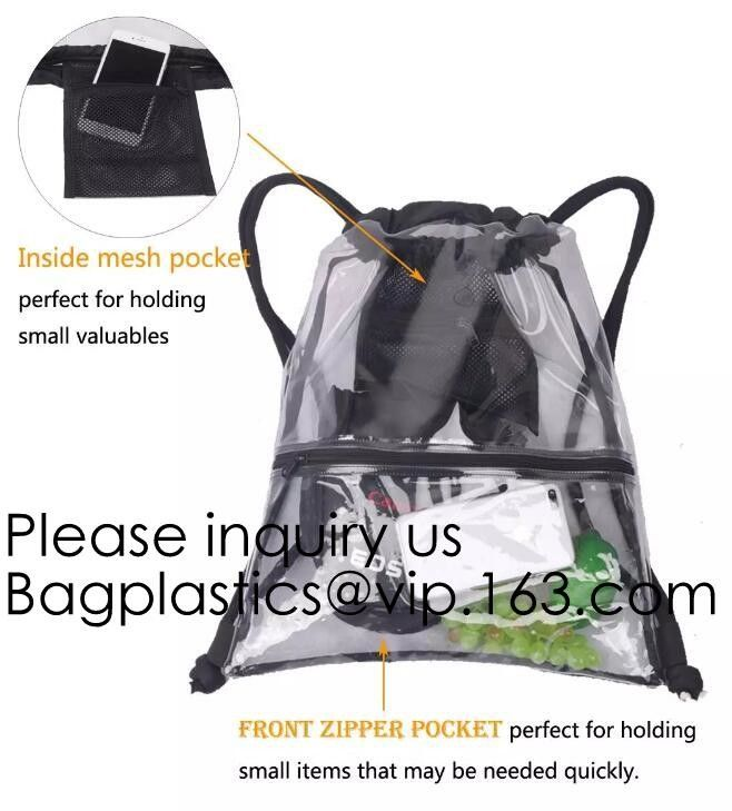 Clear Cinch Bags Traveling Sport Bags,Backpack with Front Zipper Mesh Pocket,Mesh Pocket and Bottle Mesh Poket,holder